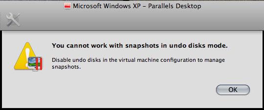「Undo Disks」が有効化された状態では、新たなスナップショットノードは作成不可(Ver.4.0)