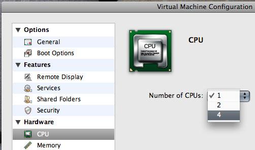「Parallels Server 3.0 Beta 2 Build 1709.47666」における「Virtual SMP」。最大4コア(4way)まで割当可能