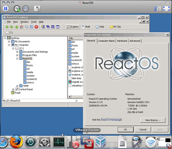 「Mac OS X 10.5.4」+「VMware Fusion 2.0 Beta 1 Build 89933」+「ReactOS 0.3.5」