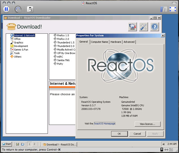 「Mac OS X 10.5.5」+「VMware Fusion 2.0 Build 116369」+「ReactOS 0.3.7」