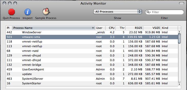 ヘッドレスモード移行後に「VMware Fusion」を終了させた際のプロセスの状態