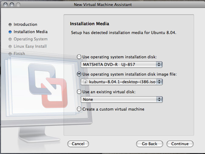 「New Virtual Machine Assistant」における「Installation Media」ステップ