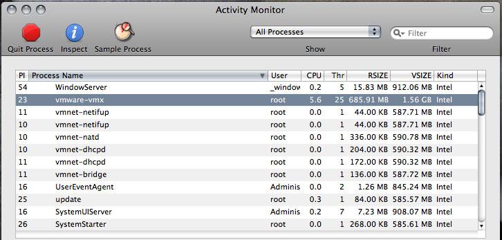 VMware仮想マシンをヘッドレスモードにて起動させた際のプロセスの状態